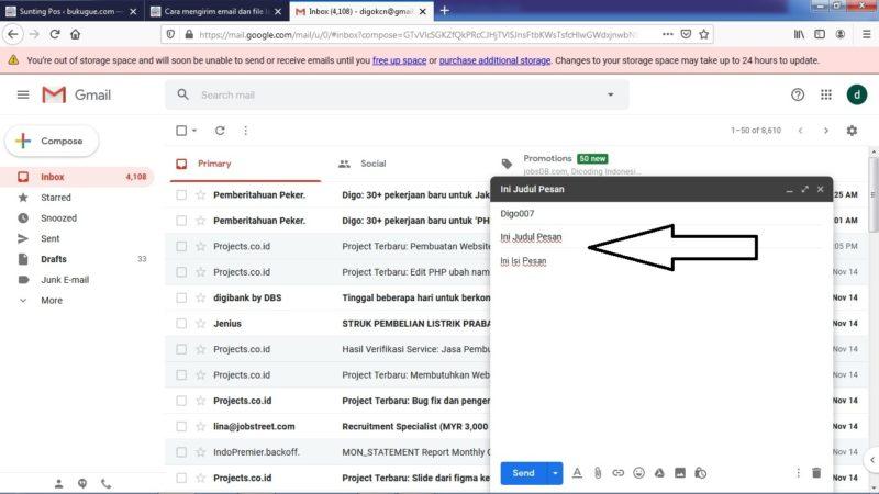 Masukkan Judul dan Isi Email