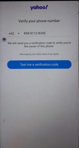 Proses verifikasi nomor HP