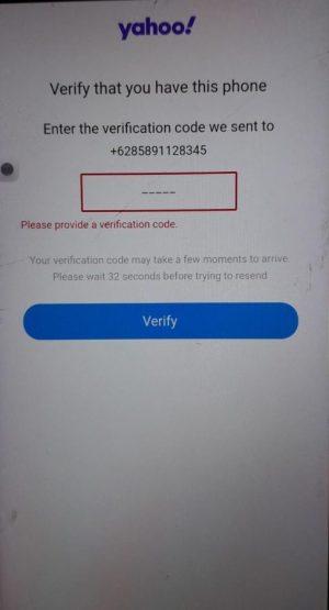 Diminta memasukkan kode verifikasi yang dikirim oleh yahoo