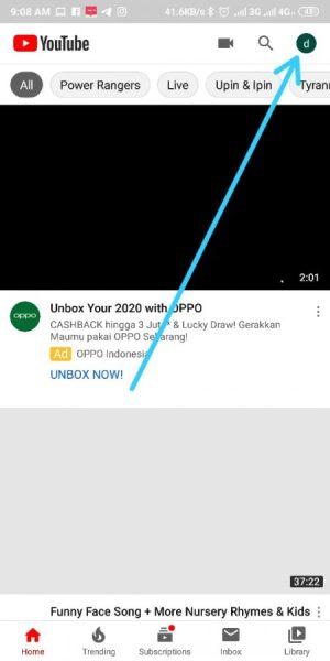 tap profil untuk mendaftar youtube premium