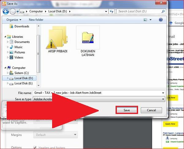 Menentukan nama dan tempat dimana file akan disimpan