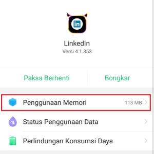 Penggunaan memori aplikasi LinkedIn Regular