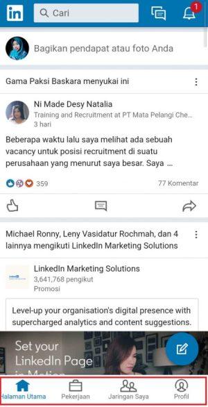 Tampilan antarmuka aplikasi LinkedIn Lite