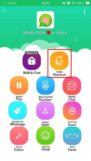 """Pic 1 - masuk menu """"shake shortcut"""" dengan cara men-tab-nya."""