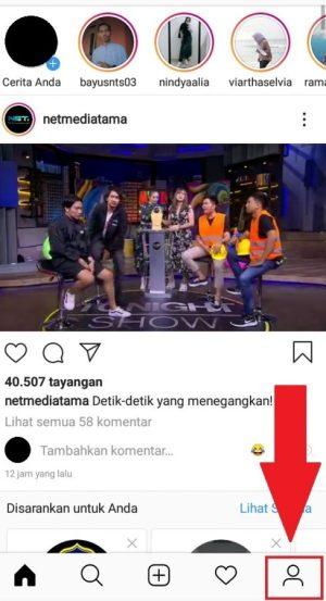 Halaman beranda instagram