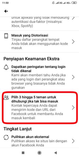 laman pengaturan keamanan dan login