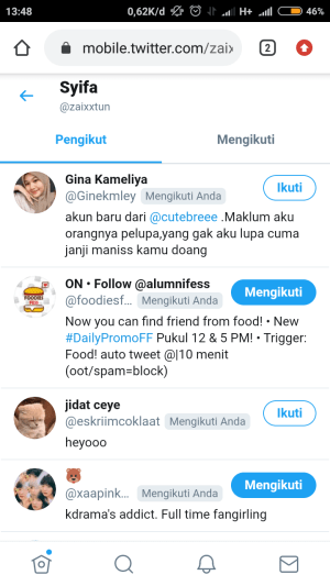 buka daftar pengikut