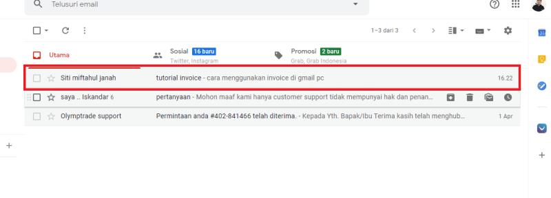 klik pesan email