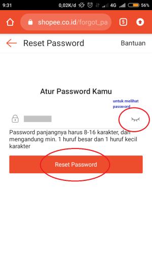 """atur password baru lalu klik """"reset password"""""""