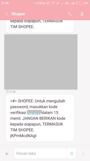 periksa kode verifikasi melalui SMS
