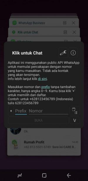 "masuk ke aplikasi ""klik untuk chat"""