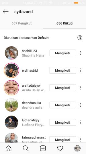 urutan following di instagram secara default
