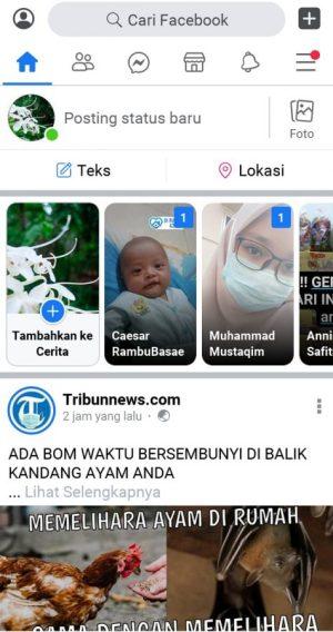 Halaman beranda Facebook Lite