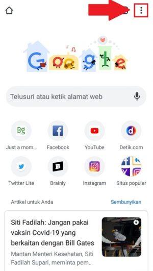Tampilan halaman awal Google Chrome