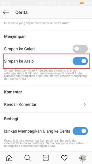 dengan mengaktifkan arsip cerita, maka ikon highlight akan muncul kembali