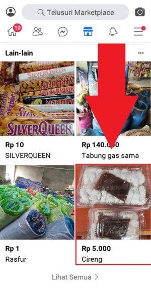 Memilih produk yang diinginkan di Marketplace