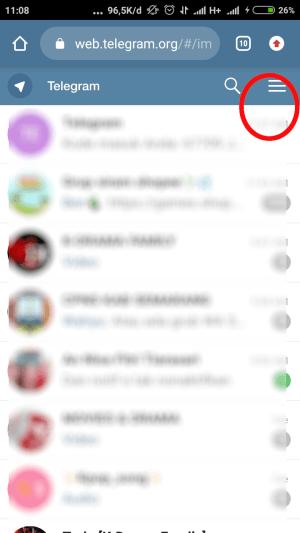 tap ikon tiga garis pada telegram web