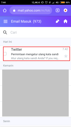 email masuk dari Twitter