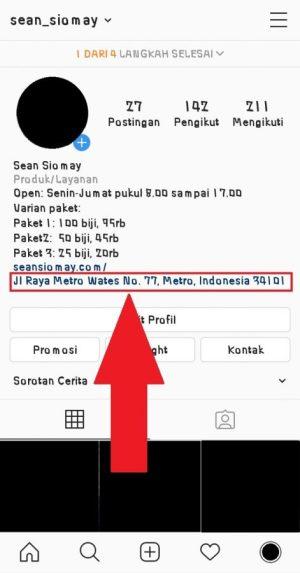 Tampilan ketika link lokasi berhasil ditambahkan di bio Instagram