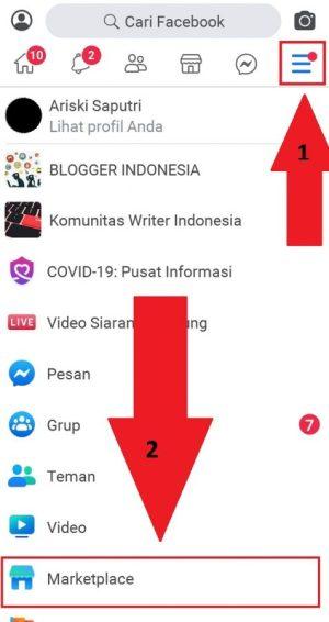 Akses marketplace dari menu aplikasi
