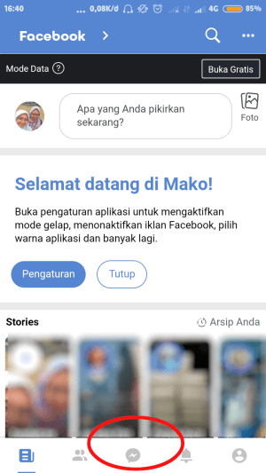 buka ikon pesan di ujung bawah tampilan