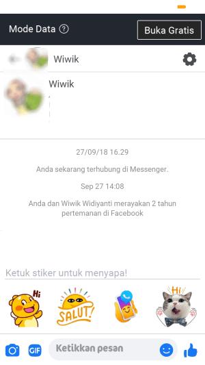 mengirim pesan ke teman melalui facebook lite