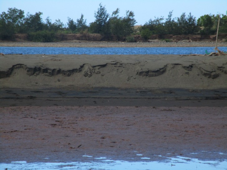 Sandbars were created in the Cabaluan river delta in Sta. Cruz, Zambales, by sediment brought by the Oct. 2015 flood (Contributed photo)