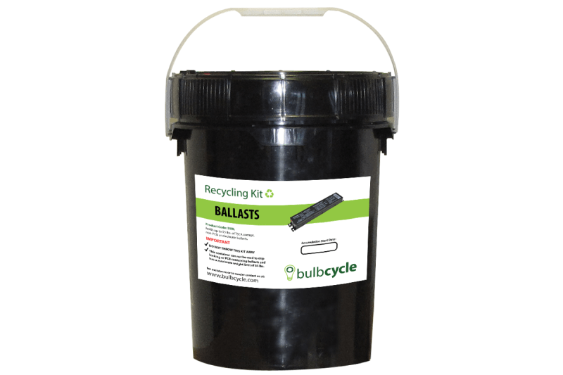 BulbCycle ballast recycling kit 5 gallon label