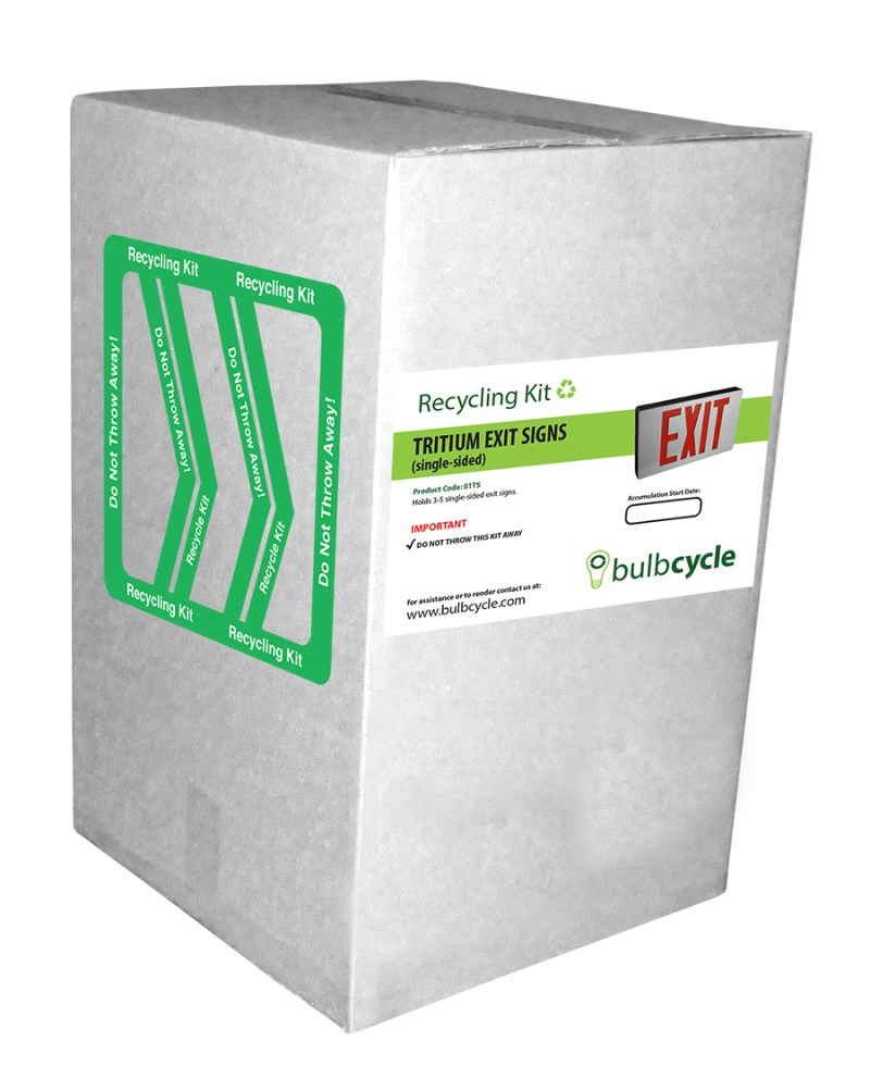 Tritium Exit Sign Recycling Kit (Single Sided Signs)