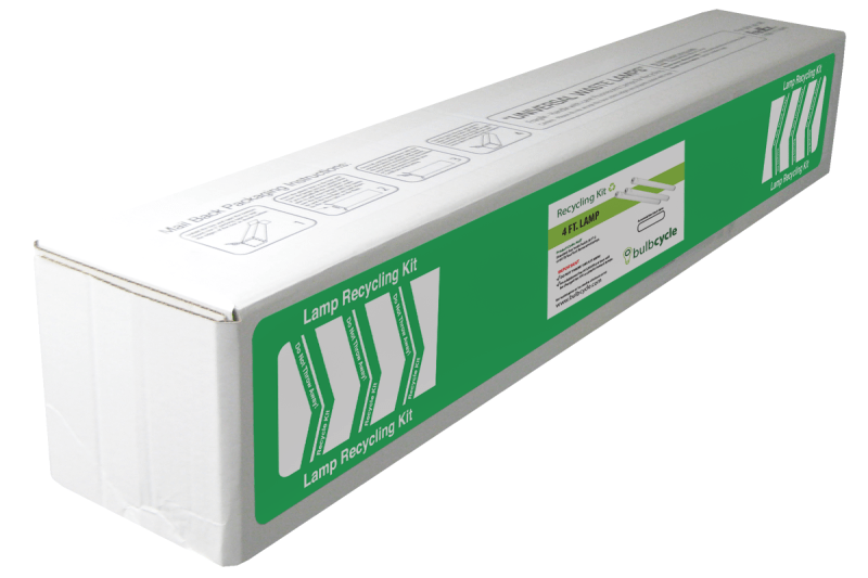 BulbCycle 4 foot fluorescent lamp recycling kit jumbo label