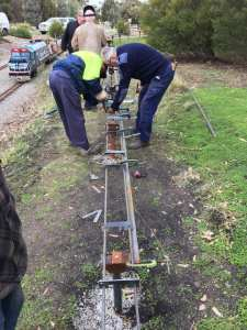 Anther 44 meters welded today now 110 meters of 5 inch gauge raised track. Well done again team