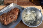 sear beef; slather with butter mix