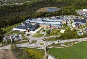 Viser lokaliseringen av Høgskolen i Vestfold