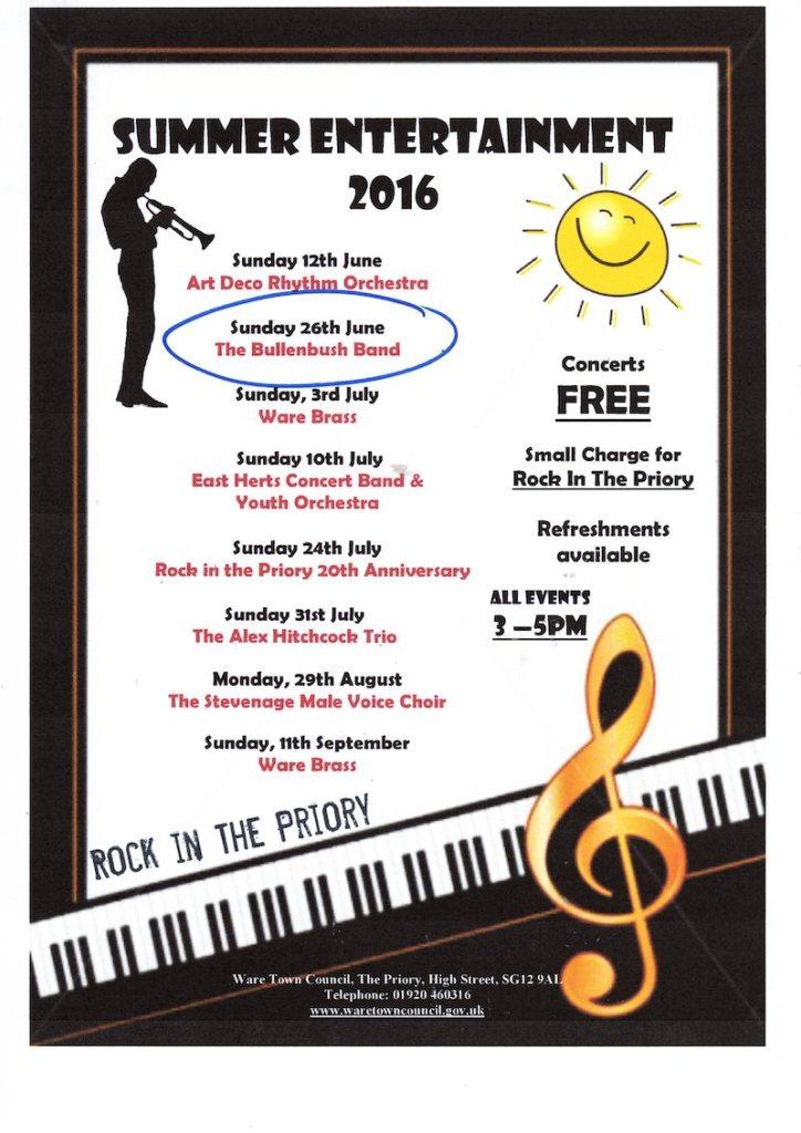 Bullenbush Band Live at Ware Priory, June 2016