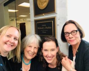 Heidi Kuehl, Sally Wise, Sarah Sherman, and Keith Ann Stiverson at Senator Richard Durbin's office for AALL Lobby Day 2019