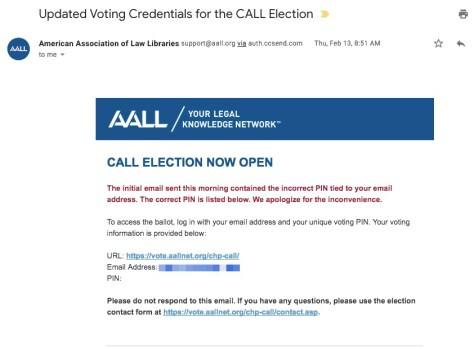 AALL CALL Election email