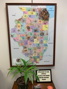 map of Illinois with pins marking home locations for visitors to DC Office