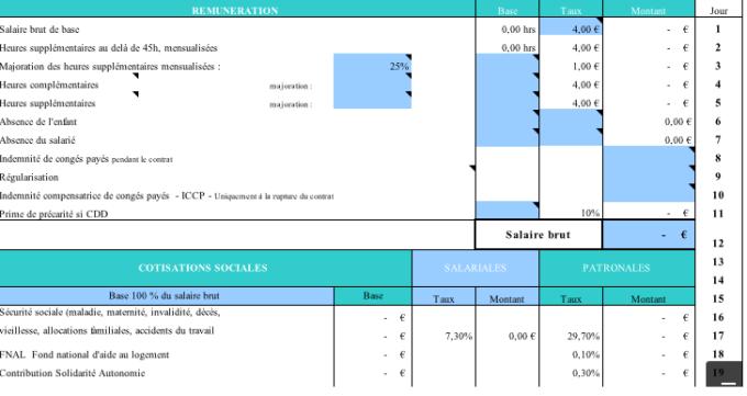 Fiche de paie assistant maternel 2018 Excel