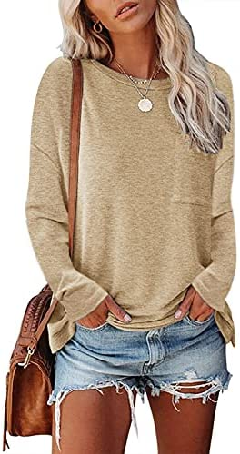 MEROKEETY Womens Casual Long Sleeve Crewneck Tops Solid Color Pullover Shirts