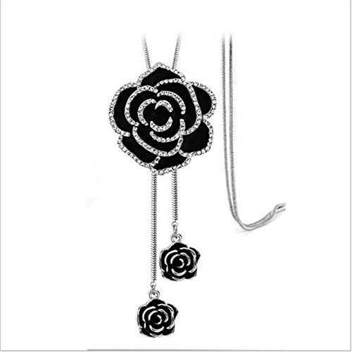 Cathercing Rhinestone Black Rose Pendant Long Necklace for Women Sweater Chain Statement Necklace Choker Adjustable Elegant Jewelry Crystal Accessories Dressy Collocation Winter Evening Party Wedding