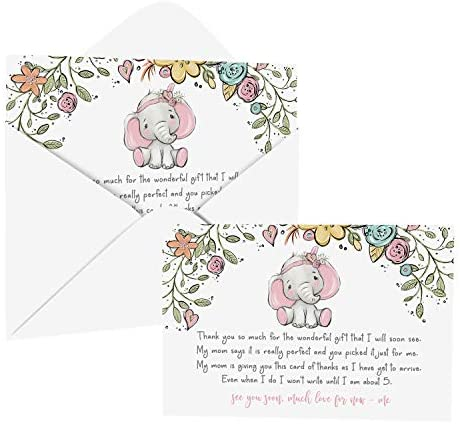 Cottage Elephant Baby Shower Thank You Cards with Envelopes (25 Pack) Message from Baby Girl Thanking Guests for Gifts - Pink Jungle Animal and Floral Theme Designs - Flat Stationery Set Printed (4 X 6 inches) Paper Clever Party