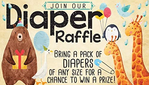 Diaper Raffle Tickets – Noah's Ark – Set of 50 Double-Sided Raffle Cards – Blank Baby Shower Stationery – Fun and Colorful Baby Shower Supplies for Under $15!
