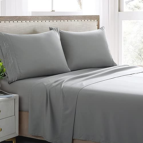 Grey Sheets Queen Set-4 Pieces Deep Pocket Bed Sheet Set-Microfiber 1800 Thread Count Sheet Sets for Queen Size Bed -Wrinkle and Fade Resistant (Grey, Queen)