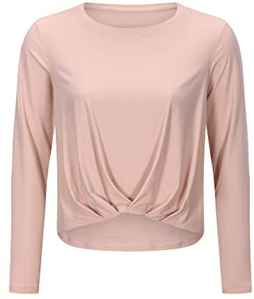 HUGE SPORTS Workout Shirts for Women Long Sleeve Yoga Tops Sports Running Twist Front T-Shirt