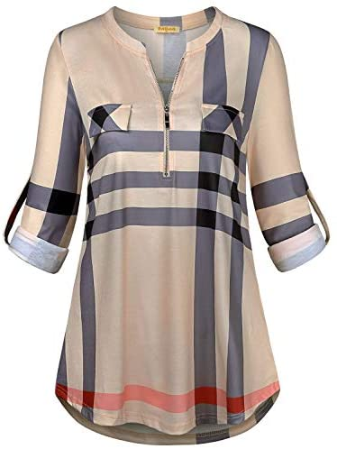 MIXJOY Baikea Women's 3/4 Rolled Sleeve Zipped V Neck Plaid Shirt Casual Tunic Blouses with Chest Flaps
