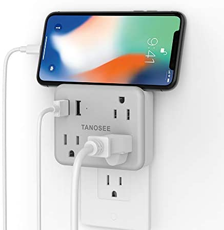 Multi Plug Outlet Extender for Cruise Essentials, TANOSEE Wall Outlet Plug Splitter with USB Wall Charger, Multiple Power Outlet Expander with Charging Station