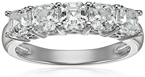 Platinum or Gold Plated Sterling Silver Fancy Cut 5-Stone Ring made with Swarovski Zirconia