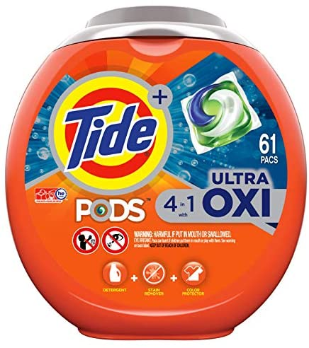 Tide PODS 4 in 1 Ultra Oxi Laundry Detergent Soap PODS, High Efficiency (HE), 61 Count