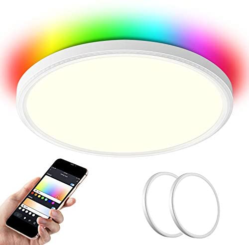 Two Pack 14inch 35W 4000LM Wifi LED Flush Mount Ceiling Light + RGB Backlight, compatible with Alexa and Google Home, LED ambiance ceiling light for Bedroom, living room, Dining room (White, Two Pack)
