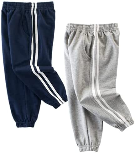 WISHTOP Toddler Boys 2 Pack Pants Cotton Drawstring Elastic Embroidery Jogger Pants Athletic Knit Sweatpants with Pockets